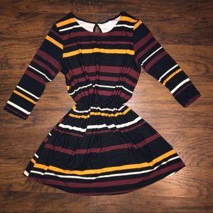 Black maroon and mustard yellow dress